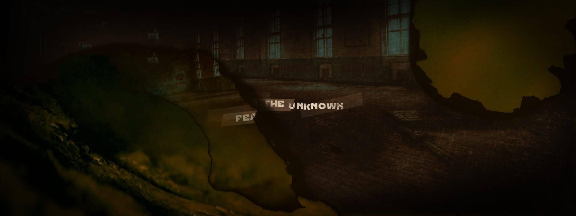 Transition du titre «fear the unknown» sur effet de papier qui brûle