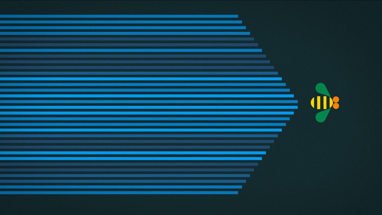 L'abeille recouvre l'écran d'un voile de lignes horizontales en camaïeu de bleus
