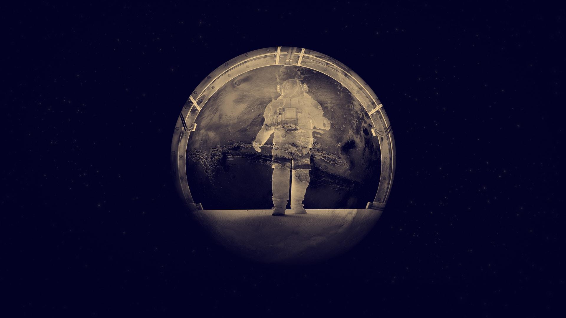 Astronaute qui s'avance dans un hublot qui reflète la planète Mars dans un effet de double exposition