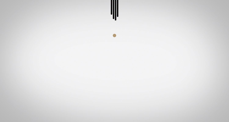 Boule doré qui tombe suivie de lignes noires verticales