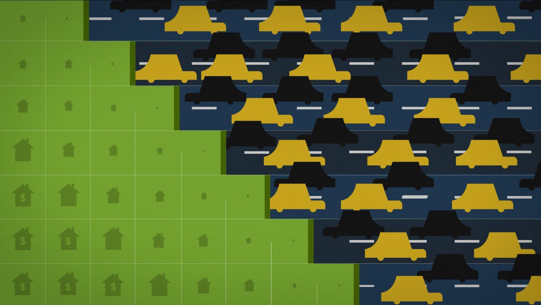 Circulation automobile très dense laisse place à des petites maisons