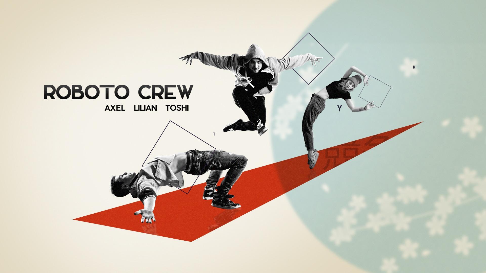 Troupe de danse nommé Roboto Crew, au style urbain dans un décor épuré de formes géométriques, de typo et de fleurs de cerisier