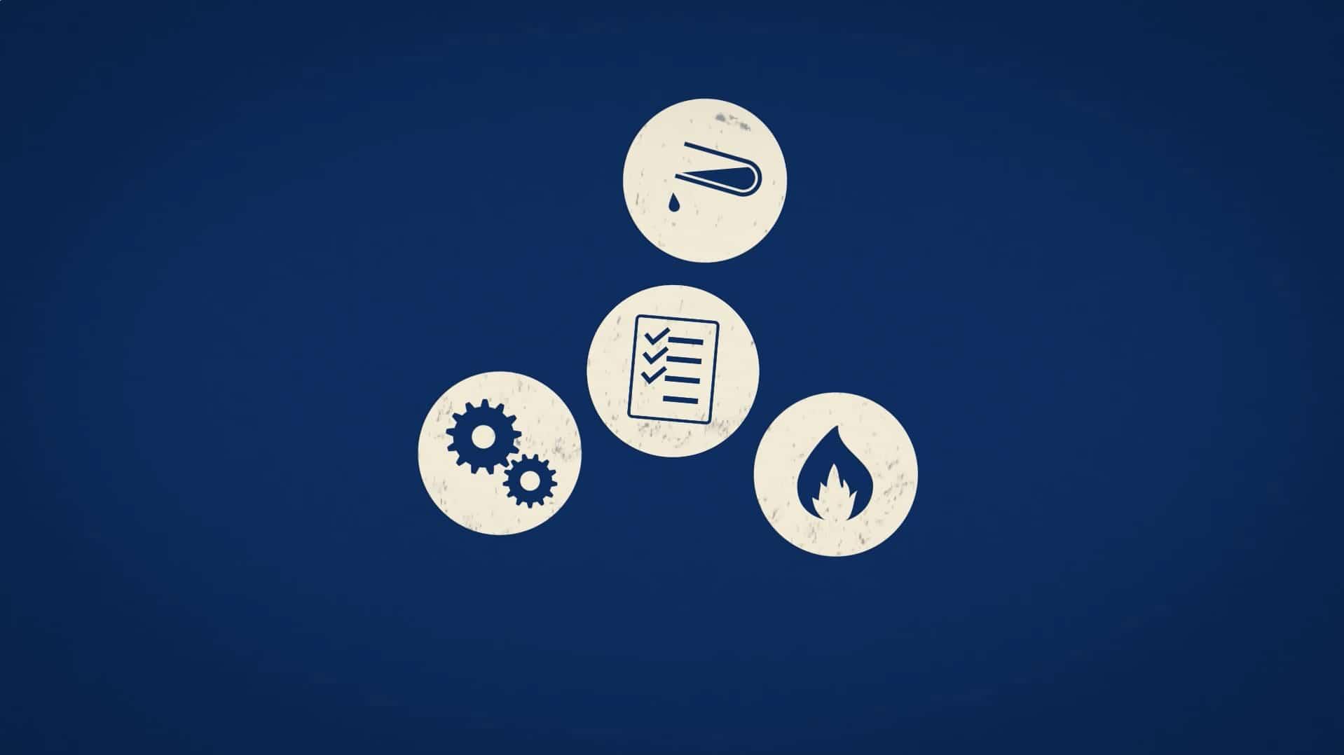 symboles des énergies mécaniques chimiques et fluidiques