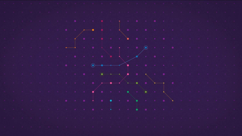 Grille avec des lignes et des points formant un circuit