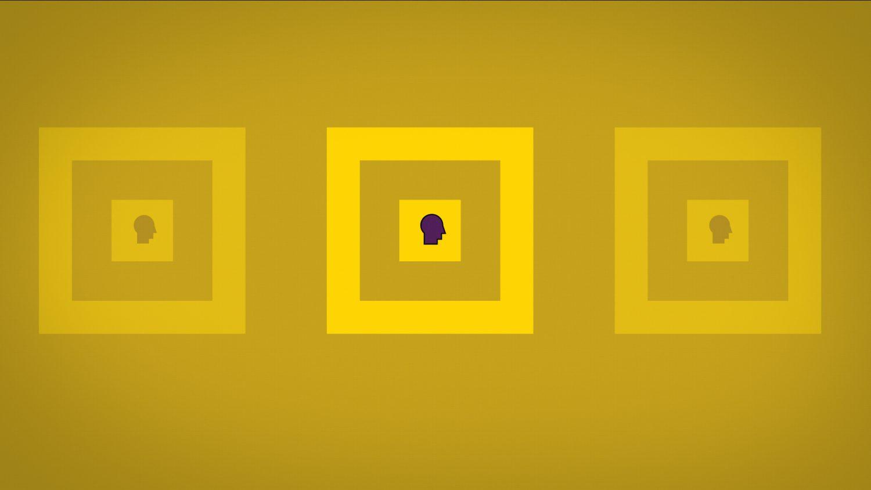 3 carrés jaunes côte à côte contenant la silhouette de visages de profil