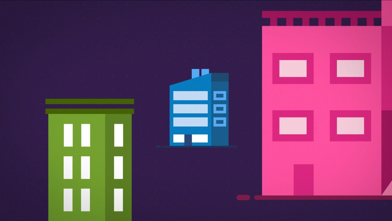 Immeubles de différentes couleurs répartis dans l'espace