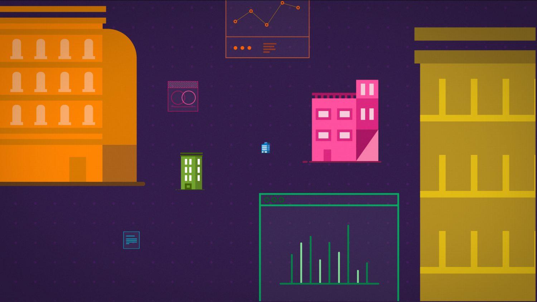 Immeubles de différentes couleurs au milieu de données graphiques