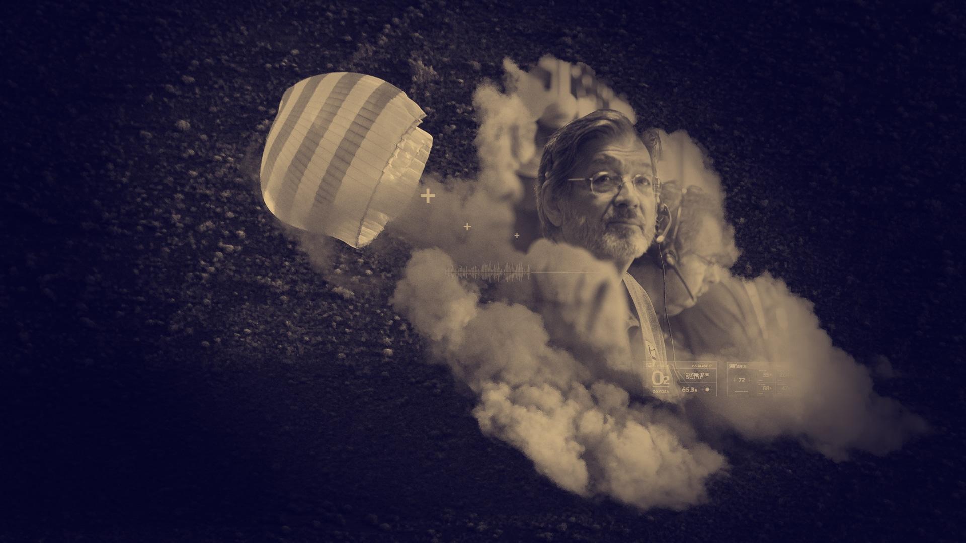 Ingénieur de la nasa pensif dans un nuage de fumée et un parachute en double exposition avec des illustrations techniques