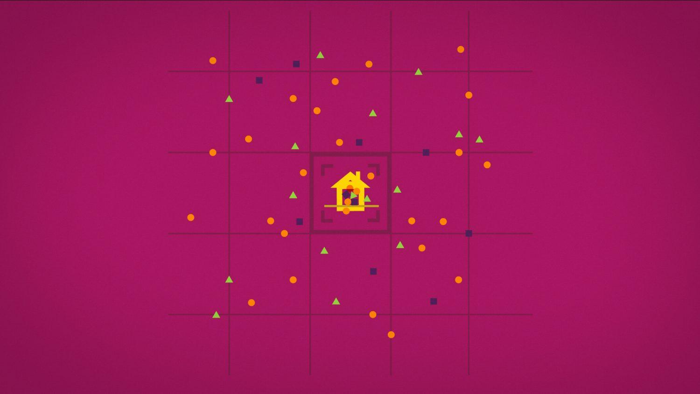 Une maison rose fuchsia apparaît au milieu des confettis