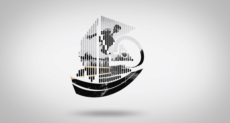 morphing vers une silhouette de bateau avec un skateur qui fait une figure