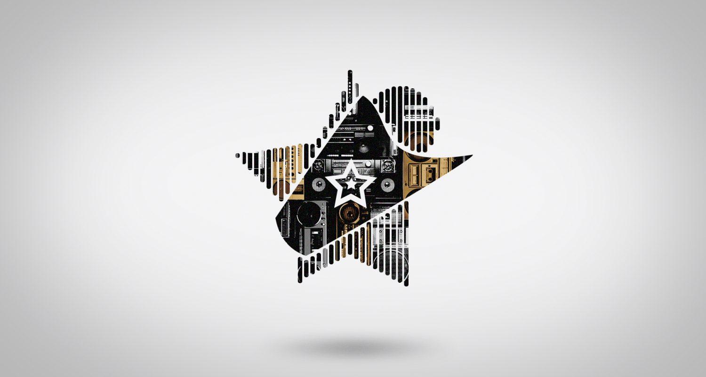 Morphing vers une silhouette d'étoile avec un mur de vieux postes de radio cassettes