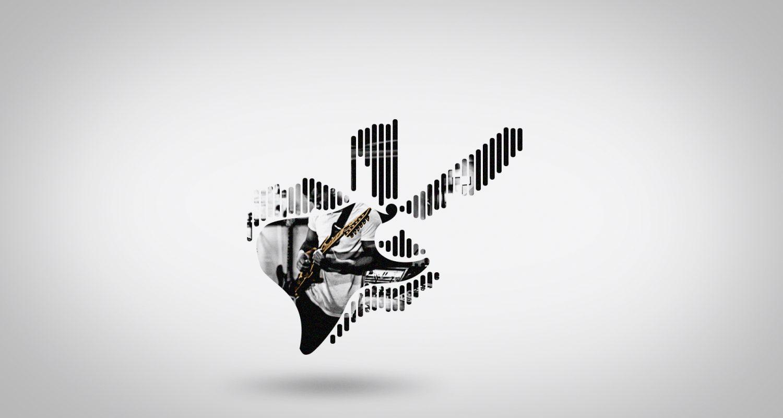 morphing vers une silhouette de guitare électrique avec un guitariste qui joue