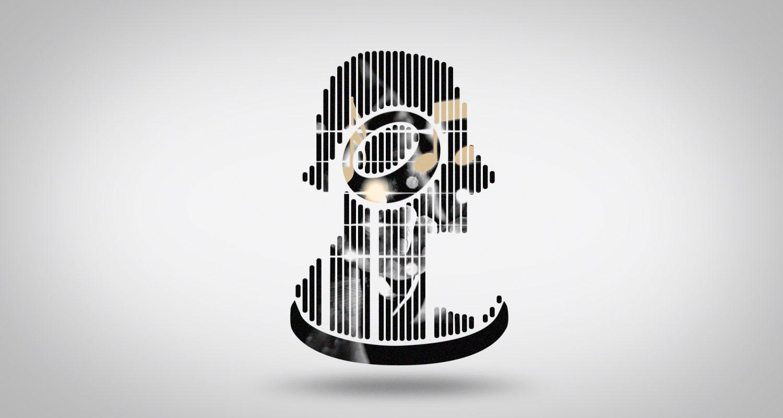 morphing vers une silhouette de visage de profil avec des notes de musique