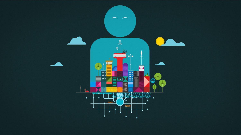 Personnage sain et apaisé représentant une ville colorée qui respire