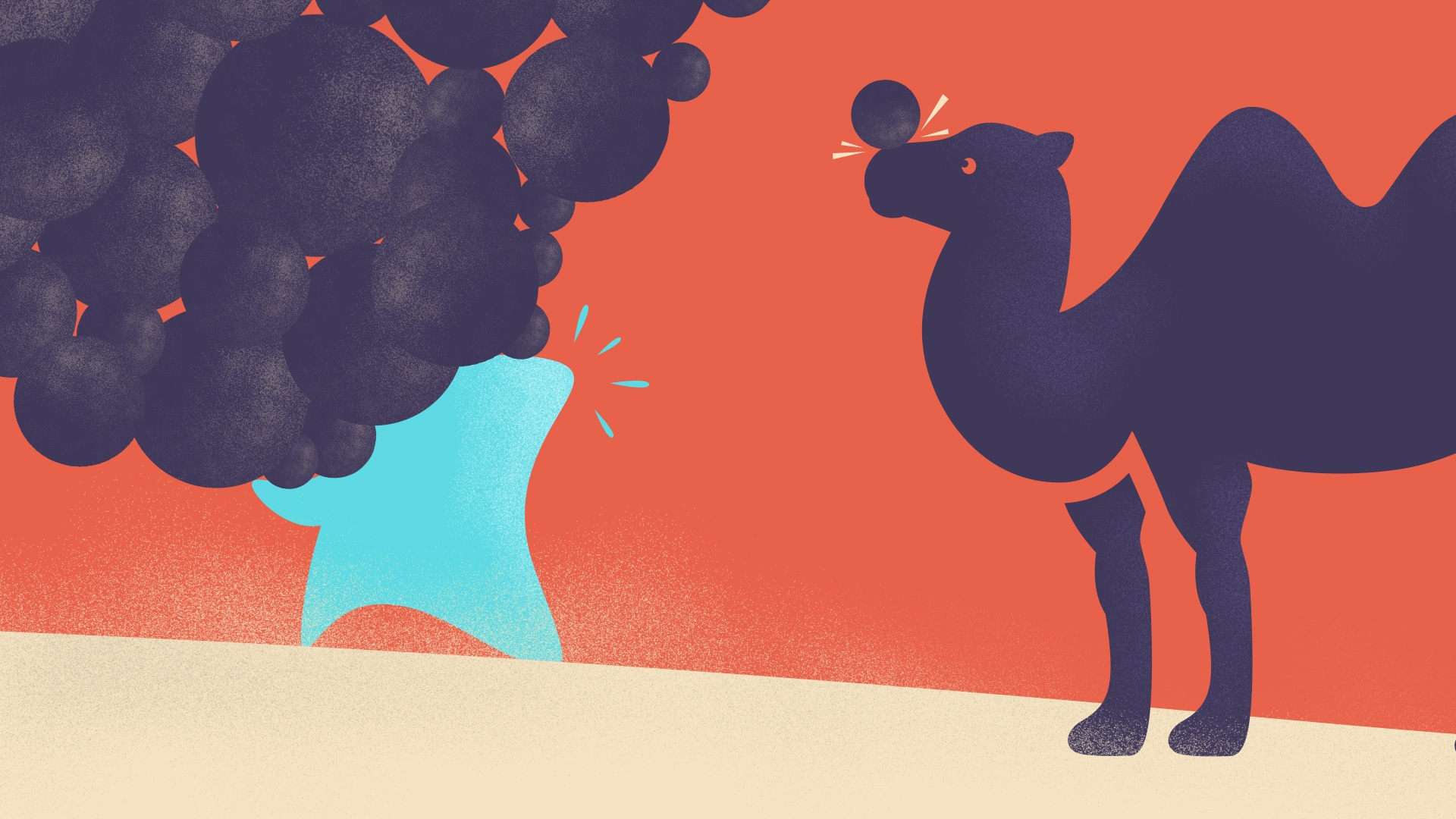 Personnage bleu croisant un chameau dans le désert