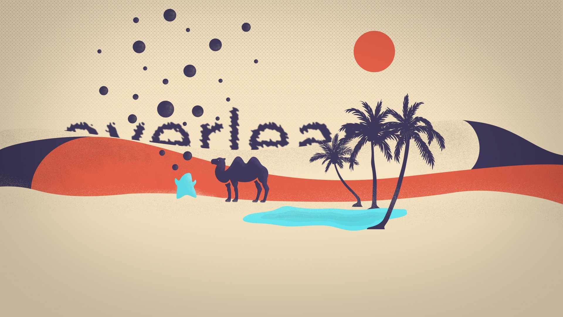 Personnage bleu libéré de sa charge devant un chameau et une oasis en plein désert