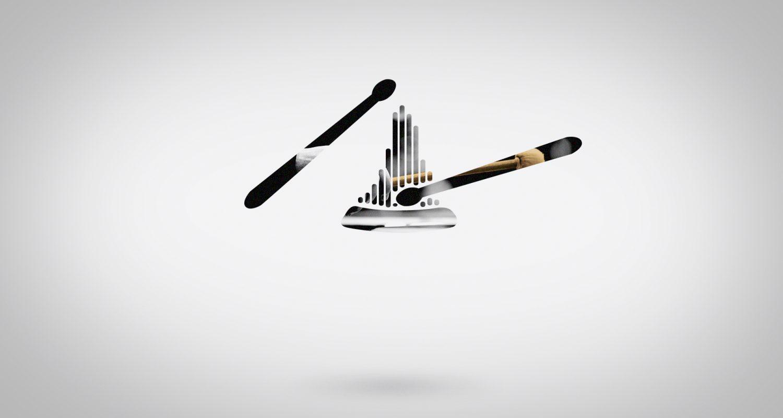silhouette de baguettes avec un tambour