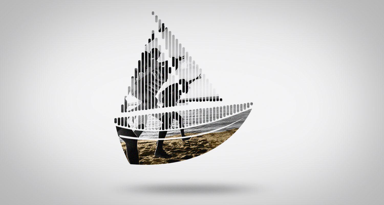 silhouette de bateau avec un groupe d'amis sur la plage