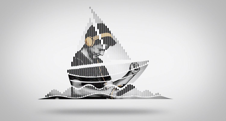 silhouette de bateau avec un jeune garçon qui écoute de la musique avec un casque