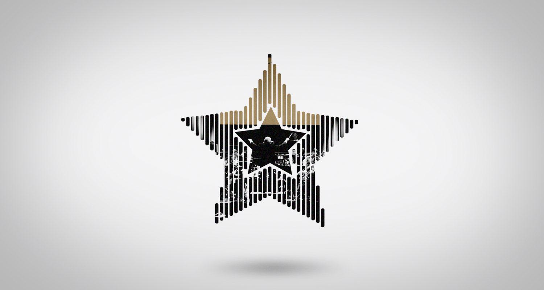 silhouette d'une étoile avec un chef d'orchestre en concert