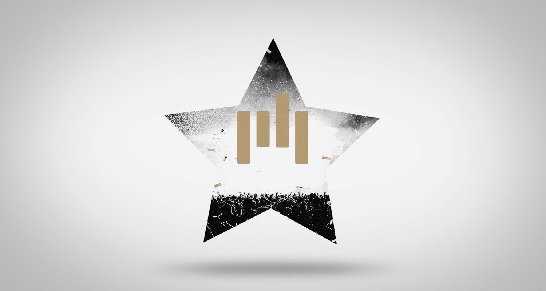 silhouette d'une étoile avec le logo Premiumbeat et un concert en fond