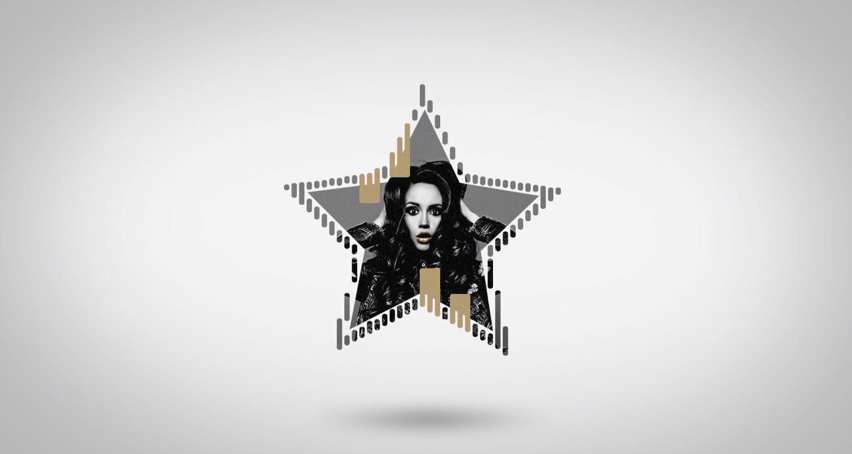 silhouette d'une étoile avec une jeune femme au look branché avec les mains dans les cheveux