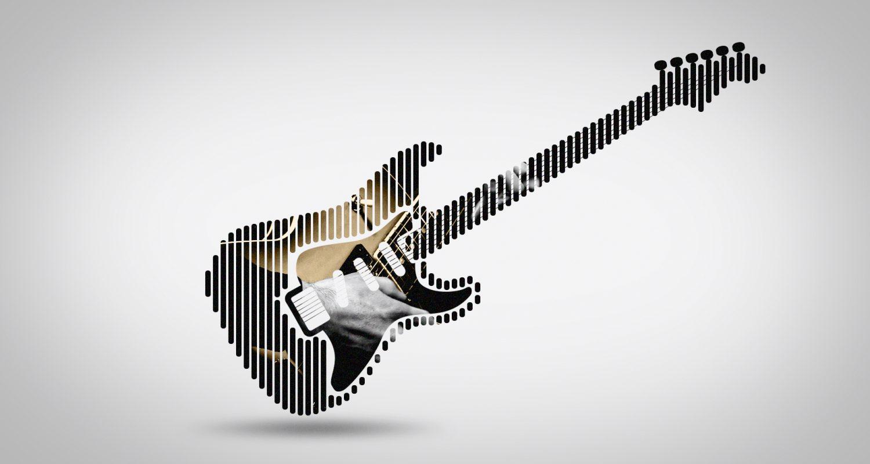 silhouette de guitare électrique