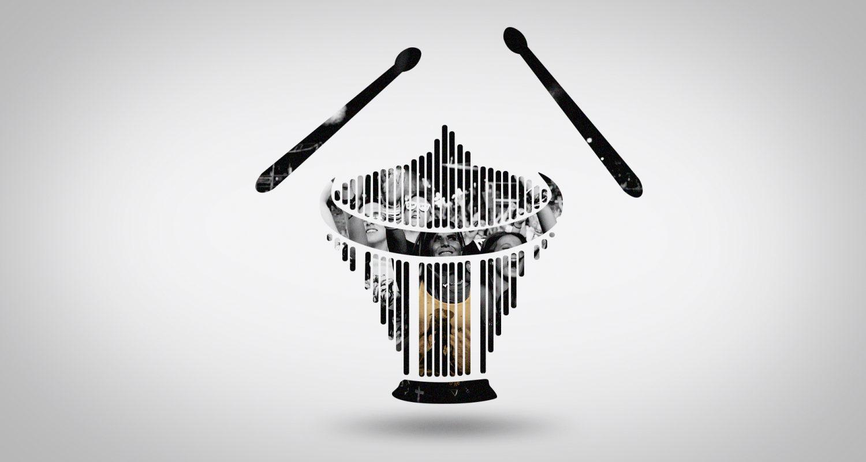 silhouette d'un tambour avec une foule joyeuse en concert