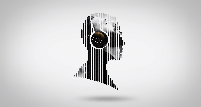 silhouette d'un visage de profil avec un jeune homme qui écoute de la musique dans un casque