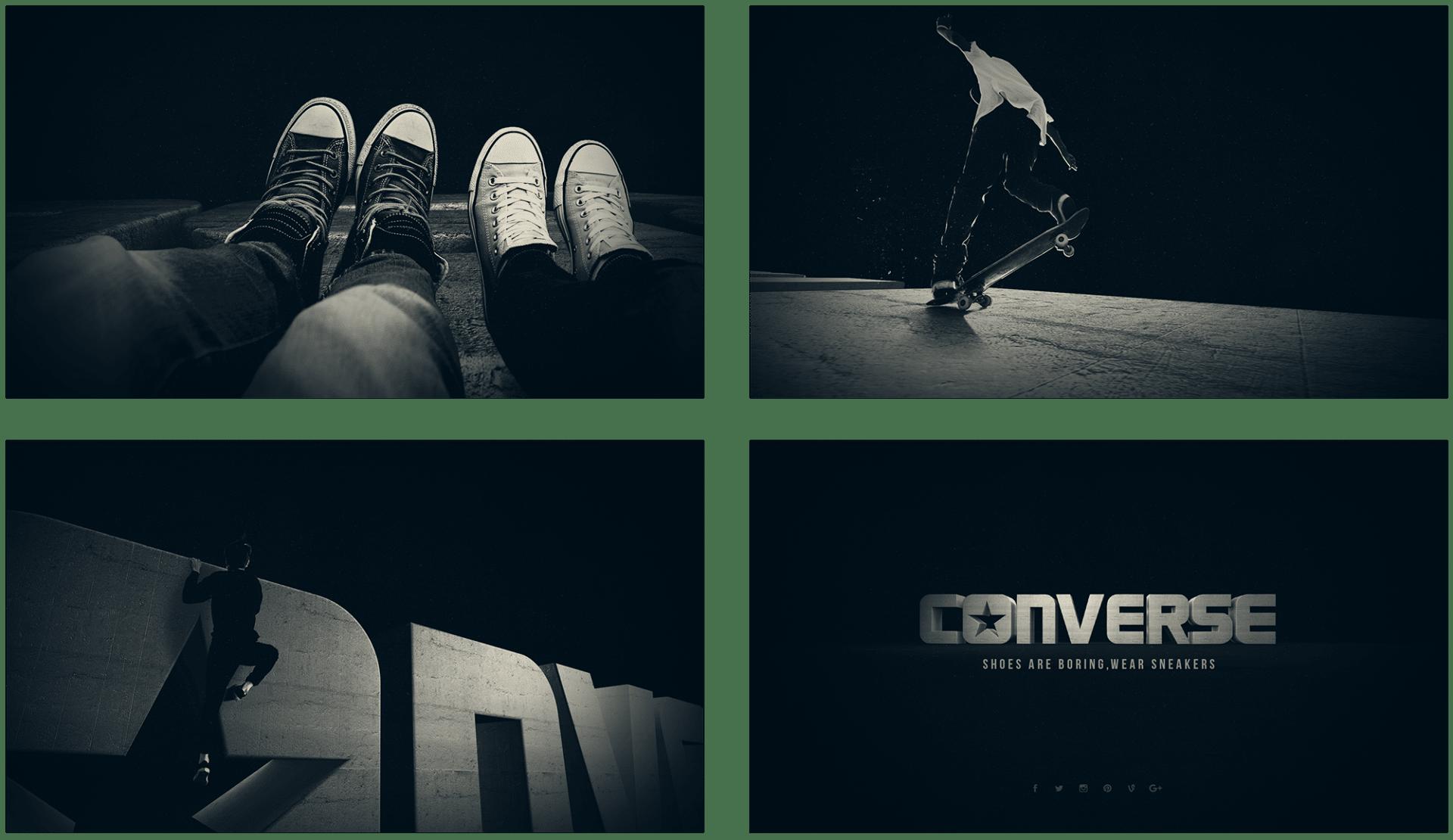 Storyboard de l'animation 3D du logo Converse réalisée pour Design Bootcamp