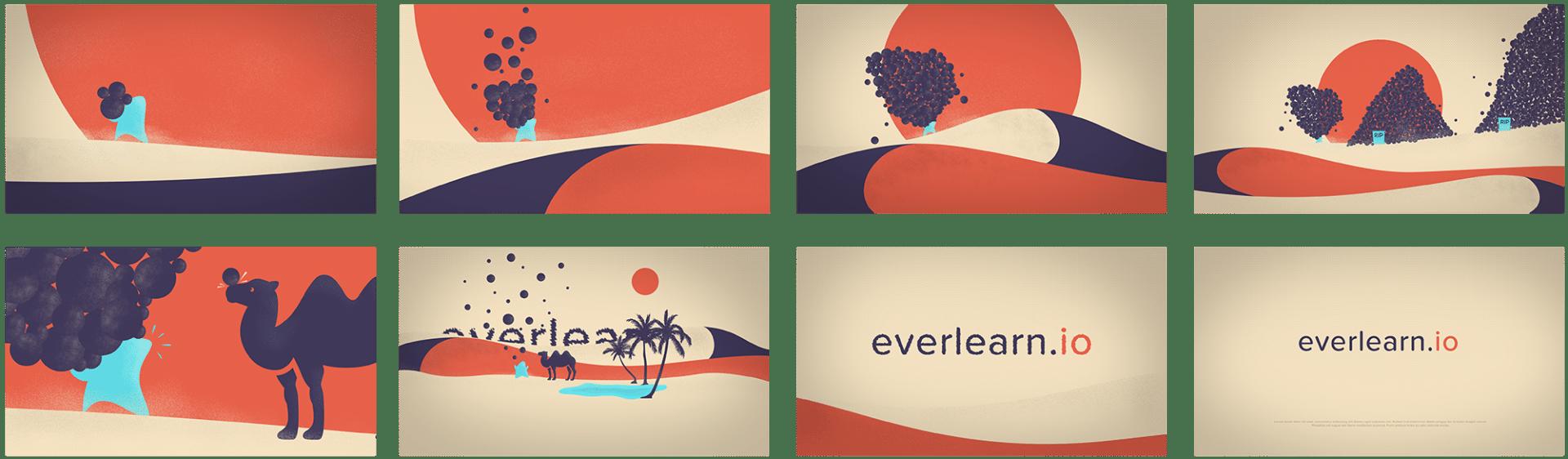 Storyboard de l'animation d'une publicité Everlearn.io réalisée pour Design Bootcamp