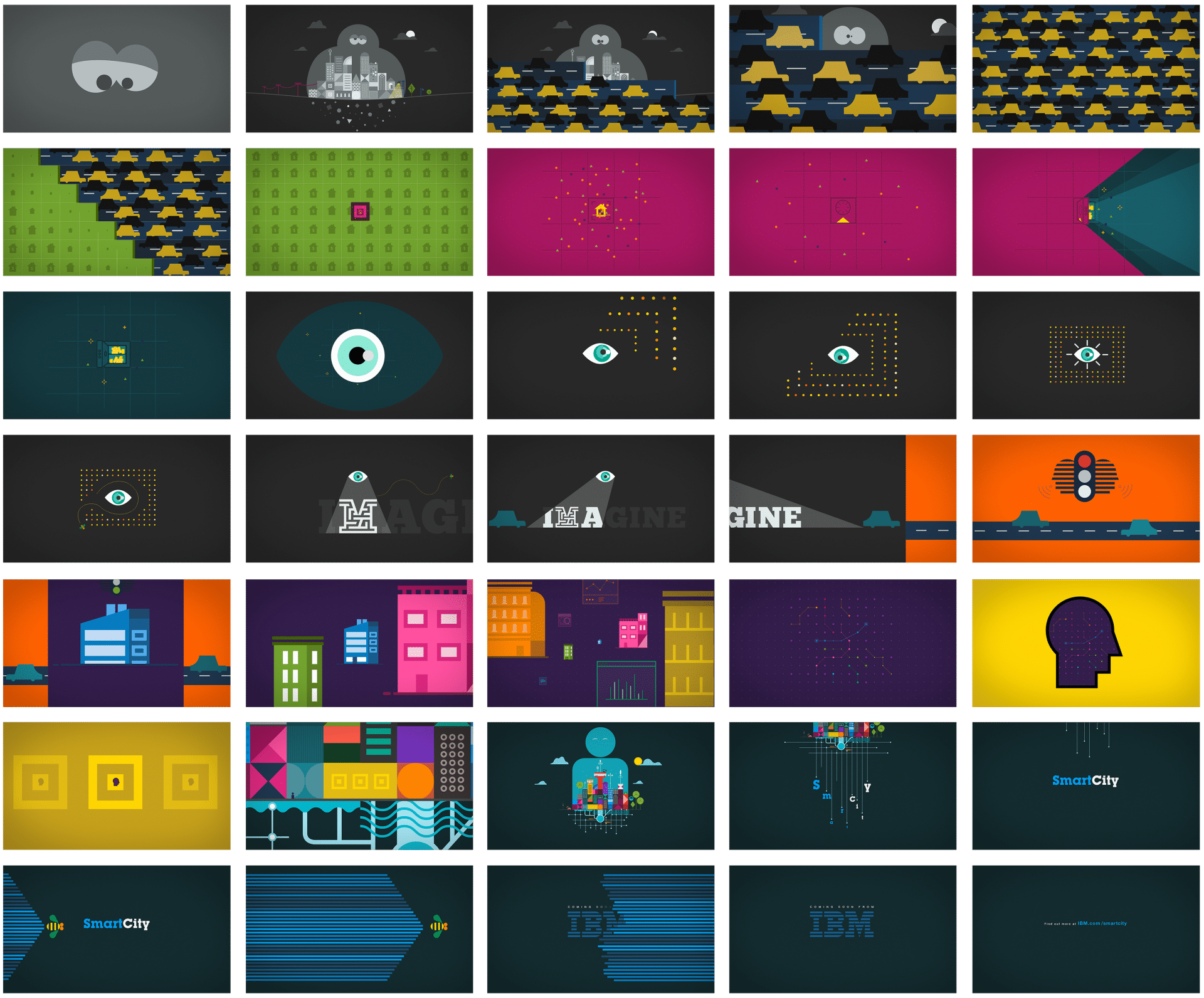 """Storyboard de l'animation publicitaire """"smart city"""" d'IBM réalisée pour Design Bootcamp"""