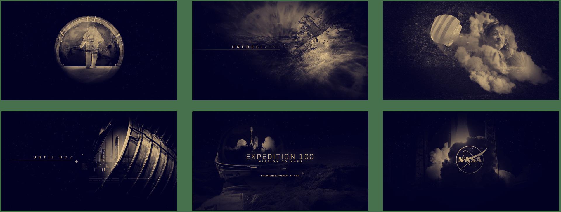 Storyboard pour le motion design de la bande annonce télévisée de l'émission « Expedition 100: Mission to Mars » sur Nasa TV réalisée pour Design Bootcamp, version bleu nuit