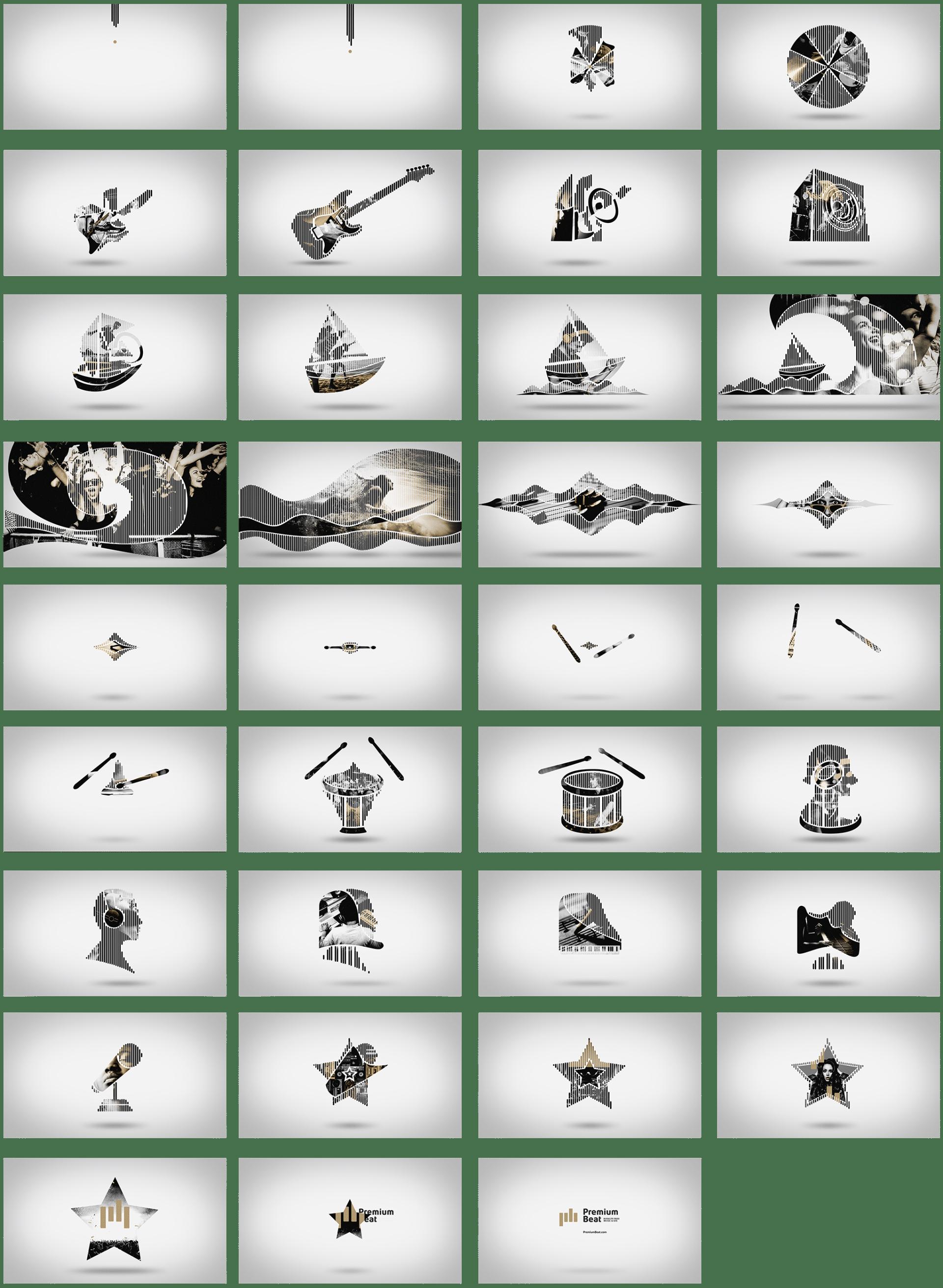 Storyboard de l'animation d'une publicité Premiumbeat réalisée pour Design Bootcamp