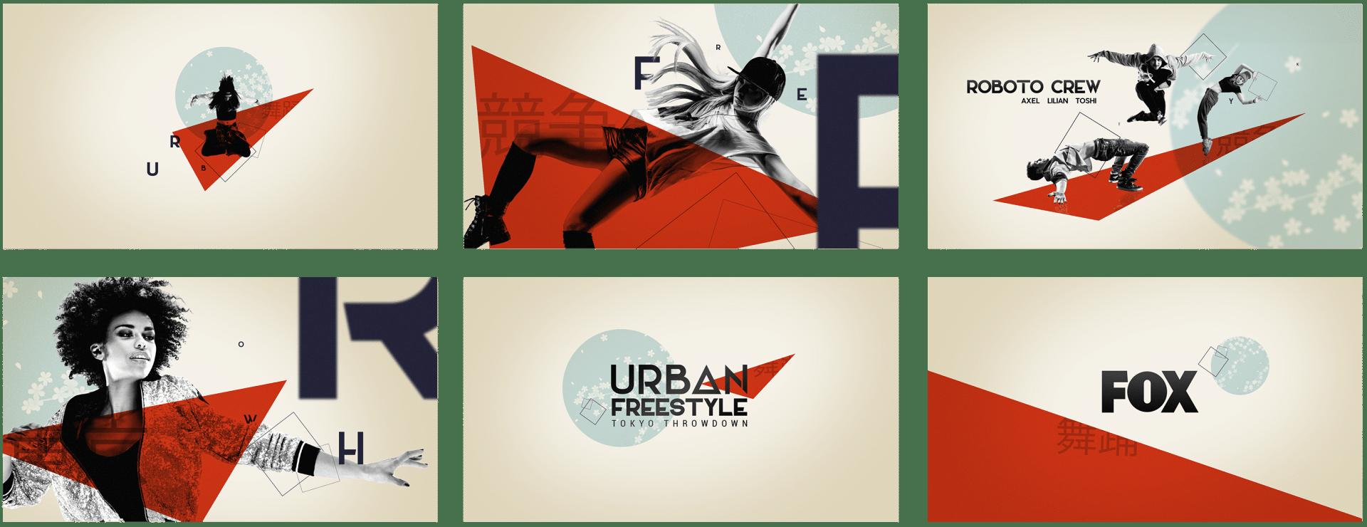 Storyboard de l'animation de la bande annonce de l'émission de danse «Urban freestyle : Tokyo Throwdown» réalisée pour Design Bootcamp