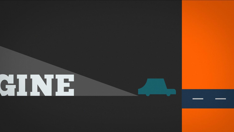 La voiture bleu quitte le mot «imagine» pour entrer dans un nouveau décor orange