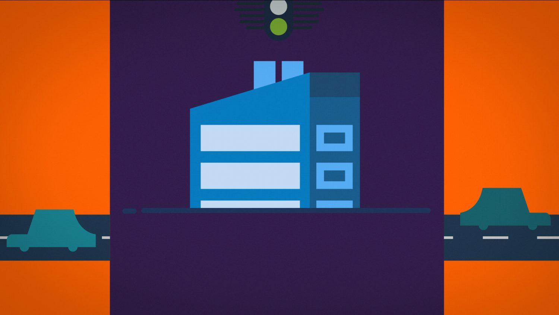 Voitures bleues quittant l'écran et laissant place à des maisons
