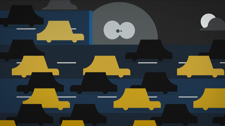 Les voitures remplissent l'écran et le personnage disparaît peu à peu